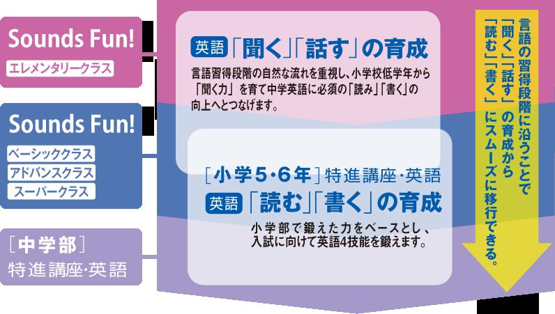 言語の習得段階に沿うことで「聞く」「話す」の育成から「読む」「書く」にスムーズに移行できる。